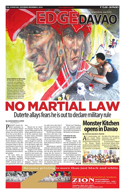 Edge Davao Frontpage / 3 December 2016