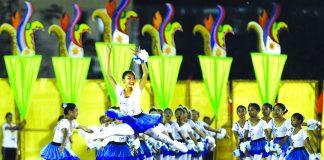 OPENER. A student performs ballet dance routine during a field demonstration as part of the opening of Batang Pinoy 2016 National Championships at the Davao del Norte Sports and Tourism Complex in Tagum City on Sunday night. LEAN DAVAL JR.