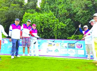 BMV LAW GOLFEST. (Left photo) Team Crocs (Cool Rabid Outlandish Caring Sportsmen) composed of (l-r) Bobby Go, Ramon Cua, Dr. Ed Guevarra, Rinald Lu, Rod Sy and Chin-Chin Lim.