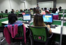 LEVELLING OFF. Newly-recruited call center agents undergo extensive training at a call center company in Davao City yesterday. Business process outsourcing (BPO) industry is optimistic of continuous growth next year under the Trump administration. LEAN DAVAL JR.