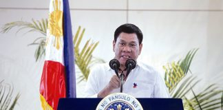 BYE-BYE AMERICA. President Rodrigo Duterte expresses his anger against the US government anew over criticism against him for reports of extra-judicial killings in his campaign against drugs upon his arrival from his state visits to Cambodia and Singapore at Davao International Airport in Davao city early morning of Saturday. LEAN DAVAL JR.
