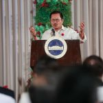MANNY PIÑOL IN SULU. Agriculture Secretary Emmanuel Piñol delivers a speech during the Negosyo Para sa Kapayapaan sa Sulu: Christmas Town Hall with the President in Malacañan Palace on Monday night. TOTO LOZANO/Presidential Photo
