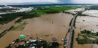 Aerial view, Friday afternoon. The towns of Kabacan and Pikit in North Cotabato and Datu Montawal and Pagalungan in Maguindanao are submerged in floodwaters after the Pulangui River overflowed evening of January 19. The drone shot facing Kabacan town was taken Friday afternoon, 20 January 2017. MindaNews photo by FERDINANDH B. CABRERA