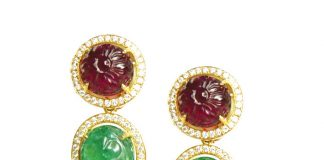 Add a touch of color with this pair of Carved Rubelite, Carved Emerald and a rare perfect pair South Sea Pearl drops, this piece can be worn in 6 ways.