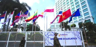 HIGH-LEVEL MEETING.The flags of the Association of Southeast Asian Nations (ASEAN) member countries fly high outside The Marco Polo Davao, the venue of the 23rd meeting of the coordinating committee on the implementation of Applying the Rules of Origin of Goods in ASEAN Trade In Goods Agreement (ATIGA) and related meetings, yesterday in Davao City. LEAN DAVAL JR.