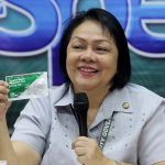STRESSING A POINT. City Health Office head Dr. Josephine Villafuerte holds a pack of dengue rapid diagnostic test kit while providing updates on dengue and human immunodeficiency virus during yesterday's I-speak media forum at City Hall. LEAN DAVAL JR.