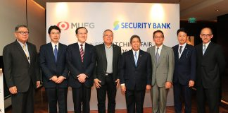 "BUSINESS MATCHING EVENT. Department of Trade and Industry (DTI) Secretary Ramon Lopez (4th from L) shared the toast with President of Security Bank Corporation Alfonso L. Salcedo (4th from R) and MUFG Corporate Finance & Strategic Advisory Division Mr. Makoto Kobayashi (3rd from L) yesterday (22 February) for the successful business matching event organized by Mitsubishi UFJ Financial Group, Inc. (MUFG). In celebration of the securing its full banking license in the Philippines, MUFG gathered more than 85 MSMEs for the largest, and first of its kind business matching event in the country which resulted to 200 meetings overall. ""In line with the president's advocacy, the government will continue to promote investments and protect investments."" said Secretary Lopez. Participating companies in the event are from the distribution and manufacturing industry, healthcare and medical equipment, real estate and development, and agricultural and seafood products. Joining the event are 53 Japanese, 31 Philippine, two Thai and one Vietnamese company, which aims to increase the opportunity to promote cross-border trade. Joining the Secretary were Economic Minister of the Embassy of Japan in the Philippines Mr. Makoto Iyori (3rd from R) and senior officials from MUFG and Security Bank Corporation. (DTI Photo)"