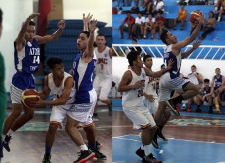 ESCANDOR CUP. Ateneo de Davao University's Axel Doromal and Matt Martinez apply pressure defense against a Jose Maria College player during the opener of the 4th Emilio Escandor Cup basketball tournament at the Davao City Recreation Center on Sunday. Right photo shows Ateneo's Dariel Manliguez score on a drive. LEAN DAVAL JR.
