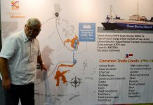 ASEAN RORO LAUNCH. Philippine Inter-agency task Force on ASEAN RORO Chief and Department of Transportation (DOTr) ASEC for Maritime Fernando Juan Perez explains the process of trade between Indonesia and Philipppines upon the launching of Davao-GenSan-Bitung RoRo Shipping Service.