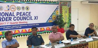 RPOC MEETING. Compostela Valley Governor Tyron Uy who chairs the Peace and Order Council in Davao region presided over a meeting at Provincial Capitol in Nabunturan last Friday, February 3. The meeting, joined by other agency-members, discussed peace and order situations, anti illegal drug campaigns, peace process updates as well as weather updates in the region. (Maryel Longakit Lasaca, ComVal PIO)