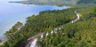 READY FOR SUMMER. Drone photo shows the recently completed Road upgrading (gravel to concrete) of the Tibanban-Lavigan Road. The P78.1M, 1.86-KM road project was completed in September 2016. The road is a vital access route to the famed Cape San Agustin (Parola), one of the most sought after tourist destinations of Davao Oriental. (DPWH XI RPAIO)