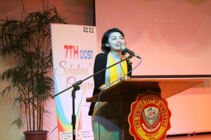 Ms. Kim Dianne Ligue gives an inspirational message during the 7th DOST Scholars' Congress