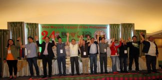 AT THE HELM. Newly-elected national officers of Vice Mayors' League of the Philippines led by this year's president Vice Mayor Donnabel Joy Mejia (leftmost) of Magsaysay, Davao del Sur are proclaimed during the organization's 24th National Convention and Election of National Officers held at Garden Oases in Davao City on Friday LEAN DAVAL JR.