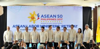 FOR POSTERITY. Ministers representing countries from the Association of Southeast Asian Nations (ASEAN) pose for a class photograph during the ASEAN 2017 Labor Ministers' Retreat held at The Marco Polo Davao yesterday. The Philippines was represented by Labor Secretary Silvestre H. Bello III (5th from left). LEAN DAVAL JR.