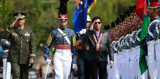 President Rodrigo Roa Duterte walks past honor guards upon his arrival at Fort Del Pilar in Baguio City for the Philippine Military Academy alumni homecoming on February 18, 2017. MARCELINO PASCUA/Presidential Photo