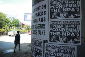 Posters condemning the alleged atrocities of the New Peoples Army (NPA) rebels proliferated in the streets of Davao City following the ambush against police officers in Bansalan, Davao del Sur last week. Photo taken on March 14, 2017. Mindanews Photo