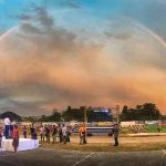 INSPIRING SCENE. An extra embellishment courtesy of nature adds color and beauty to the already well-decorated and extravagant setting of the DAVRAA 2017 Grand Opening. A beautiful rainbow complements Governor Nelson L. Dayanghirang's inspiring message during the historic opening of Southern Mindanao's biggest sports meet on March 19 at the Mati Centennial Sports Complex, in Mati City, Davao Oriental. (Andy Dayanghirang/PIO DavOr)