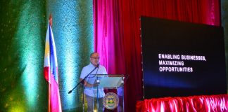 BUSINESS POLICIES. Compostela Valley Gov. Jayvee Tyron Uy declares four major policies to support local businesses at the gathering of major and small businessmen for the first provincial business leaders' forum at the SP Session Hall of Capitol on March 6 at the height of the weeklong celebrations of the 10th Bulawan Festival. (Maryel Lasaca//IDS ComVal)