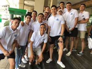 BLUE KNIGHTS IN MANILA. The Ateneo Blue Knights upon arrival for the SM NBTC Finals.