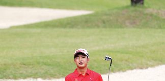 MEN'S INTERCLUB DAY 2. Yuto Katsuragawa peers at his ball at Hole no. 5 of the Rancho Palos Verdes, contributing 36 points to pad Manila Southwoods' lead over Canlubang by 14 during Day 2 of the PAL Men's Interclub at Davao City.
