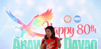SETTING THE TONE. City administrator Zuleika Lopez speaks before the crowd during the official kick-off of the 80th Araw ng Davao at Rizal Park in Davao City on Wednesday evening. LEAN DAVAL JR.