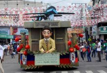 TRIBUTE. One of the eight floats that depict the history of Davao from the time of Datu Bago until the present day Davao rolls along San Pedro Street during yesterday's 80th Araw ng Davao Parada Dabawenyo. LEAN DAVAL JR.