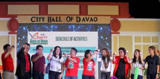CHEERS. City government officials, city councilors and partners from the private sector propose a toss to formally open the 80th Araw ng Davao at Rizal Park in Davao City on Wednesday evening. LEAN DAVAL JR.