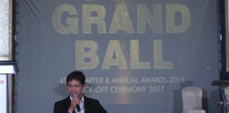 CELEBRATION. Suntrust Properties, Inc. president lawyer Harrison M. Paltongan gives an inspirational message before the 'Suntrustees' during the company's 2017 Kick-off, 4th quarter and annual awards 2016 dubbed Grand Ball at SMX Convention Center in Lanang, Davao City over the weekend. Lean Daval Jr.