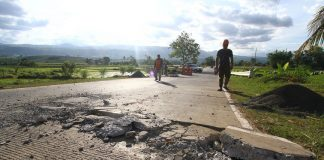 A portion of the national highway in Kalilangan town in Bukidnon was damaged by Magnitude 6 earthqauke on April 12 morning. Mindanews Photo