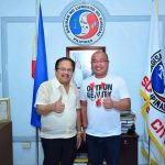 FINANCIAL SUPPORT. Compostela Valley Gov. Tyron Uy turns over the P500,000 worth of check to Surigao City Mayor Ernesto Matugas in Surigao City on April 18, 2017. The city suffered huge damage during an earthquake with a 6.7 magnitude last February. The governor was also warmly welcomed during their Execom meeting. (Maryel Lasaca, IDS ComVal)