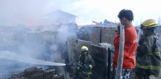 FIRE. A firefighter tries to extinguish the fire that hit a residential area in Brgy. 76A Mabini Extension, Davao City on Monday afternoon. LEAN DAVAL JR.