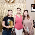 Joan Bab Guino-o, Collae Amila and Isabel Serina holding their desnier Beauty Journal from Belo and tickets to Sarah Geronimo's concert in Davao.