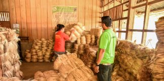 SUPPORT TO ABACA INDUSTRY. Farmer beneficiaries of the Department of Agriculture's Philippine Rural Development Plan's High Quality Abaca Fiber Program in Barangay Maligang, Kiamba, Sarangani province are getting things all set for the program's formal launching in May. Concreting of roads going to the upland areas of Maligang has already been initiated to provide easy transport of Abaca yields. Along with these developments, the farmers and the multipurpose cooperative they formed will directly benefit from the profits out of the increased Abaca yields the program targets. (AR Camposano-JP Belmonte/KIAMBA INFORMATION OFFICE)