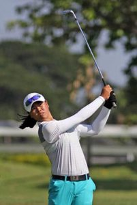 LEADER. Yuka Saso fired a four-under par 68 to take a three-stroke lead in the Philippine Junior Amateur Open.