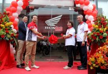 INTENT TO STAY. Honda Philippines president Daiki Nihara (second from left), adviser for power products of Honda Koehi Masaki (leftmost), Desmark president Gilbert Du (rightmost) and vice president for finance Fe Soccoro Du lead the cutting of the ribbon to mark the opening of Honda's flagship shop located at Buhangin, Davao City on Friday afternoon. LEAN DAVAL JR.