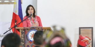 Vice President Leni Robredo delivers a message to participants of the National Indigenous Peoples (IP) Education Festival at the Pamulaan Center for IP Education, University of Southeastern Philippines, in Davao City on Monday (15 May 2017). MindaNews photo by Manman Dejeto