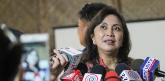 Vice President Leni Robredo answers questions from the media after delivering a message to participants of the National Indigenous People (IP) Education Festival at the Pamulaan Center for IP Education, University of Southeastern Philippines, in Davao City on Monday (15 May 2017). MindaNews photo by Manman Dejeto