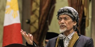 MNLF founding chair Nur Misuari delivers a lecture on Bangsamoro and Federalism at the Royal Mandaya Hotel in Davao City on Sunday, May 21, 2017. Misuari's temporary liberty has been extended until November 16 to allow him to participate in the peace process. MindaNews photo by MANMAN DEJETO