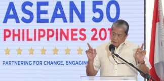 Arthur Tugade, Secretary of the Department of Transportation, delivers a message at the launch of the Davao-Gensan-Bitung ASEAN RORO Route on 30 April 2017 at Kudos Port, Sasa, Davao City. The new shipping route is seen to boost trade between the Philippines and Indonesia. MindaNews photo by Manman Dejeto