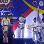 GOLD. John Philip Cagadahan of AAK Davao receives his gold medal during the awarding ceremonies of the recent 18th Milo Malaysia Open Karatedo Tournament in Kuala Lumpur, Malaysia.