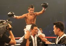 DREAM MATCH. Randy Petalcorin celebrates after winning the WBA interim lightflyweight title. He is being line dup fora fight against compatriot and fellow Mindanaoan Milan Melindo, the new IBF champion.