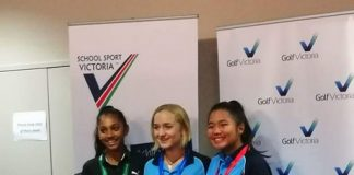 STRONG FINISH. Ella Nagayo (right) during the awarding ceremonies with girls champion and Rowville teammate Piper Stubbs (center) and Tiana Wenegesekera third.