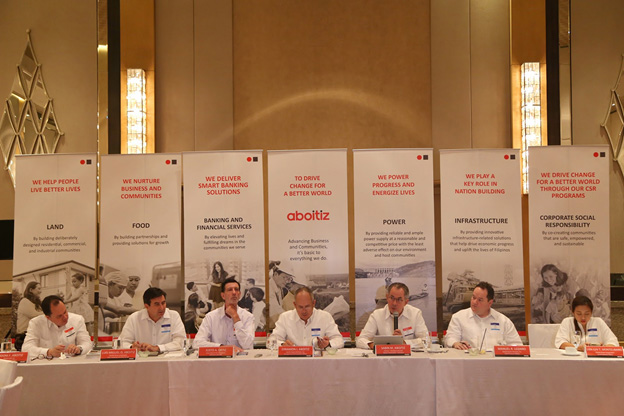 Executives from different Aboitiz business units headed by AEV President and Chief Executive Officer, Mr. Erramon I. Aboitiz (4th from left), answer questions from the audience during the Annual Stockholders' Meeting on May 15, 2017 at Fairmont Makati.