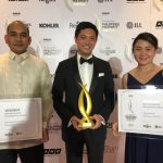 From Left to Right: Danilo A. Manlangit, AVP for Damosa Land, Ricardo Floirendo Lagdameo, VP for Damosa Land, and Anna Victoria Gatchalian of DLI's Business Development accept the PropertyGuru Philippines Property Awards plaques and trophy