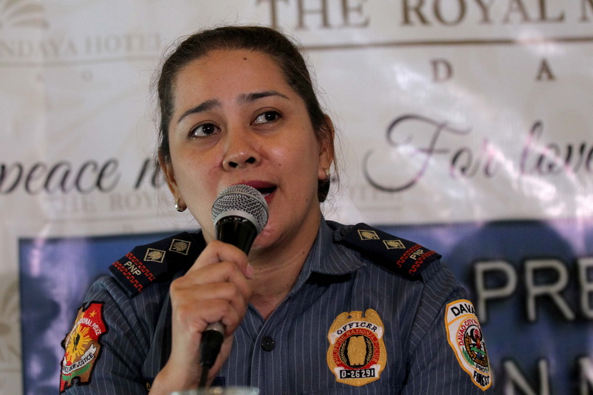 ROUTINE.Davao City Police Office spokesperson Senior Inspector Ma.Teresita Gaspan provides updates  including the immediate arrest of the suspect in the killing of a six-year-old girl who was found in a grassy area in front of Toyota Davao, Damosa, Davao City on Tuesday. Gaspan interacted with reporters during the AFP-PNP Press Corps media forum at Camp Domingo Leonor in Davao City on Wednesday. LEAN DAVAL JR.