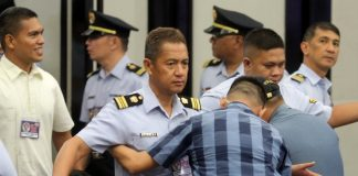 NONE EXEMPTED. A member of the Philippine Coast Guard Auxiliary undergoes strict full body pat-down search upon entering the venue of the 33rd PCGA National Convention held at SMX Convention Center on Friday afternoon where President Duterte was the keynote speaker. LEAN DAVAL JR.