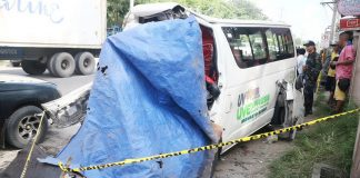 Ten passengers of this passenger van were killed and at least nine others were also injured following a head-on collision with a six-wheeler truck along Agusan-Davao highway in Barangay Bunawan, Davao City around 5a.m. Wednesday, June 14, 2017. Mindanews Photo