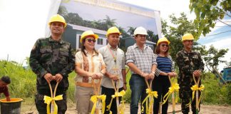 With Governor Dayanghirang during the groundbreaking ceremony are DOPPO Provincial Director PSSUPT Harry G. Espela,; DILG Provincial Director Yvette Sunga, Provincial Administrator and PADAC Officer Art Benjie C. Bulaong, Provincial Consultant Cynthia Rodriguez who represented the FFCCCII, and 701st Brigade Commander of the Philippine Army Col. Reuben Basiao.