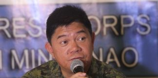 MORE INFO. Eastern Mindanao Command (EastMinCom) Martial Law spokesperson Brigadier General Gilbert Gapay provides updates on the recent arrest of Cayamora Maute, father of Maute terror group leaders Omar and Abdula, during the AFP-PNP Press Corps media forum at The Royal Mandaya Hotel on Wednesday. LEAN DAVAL JR.