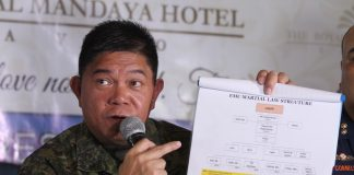 PRESERVING LAW AND ORDER. Eastern Mindanao Command (EastMinCom) spokesperson Brigadier General Gilbert Gapay shows the EMC martial law structure while providing updates of martial law during AFP-PNP Press Corps media forum at The Royal Mandaya Hotel in Davao City on Wednesday. LEAN DAVAL JR.
